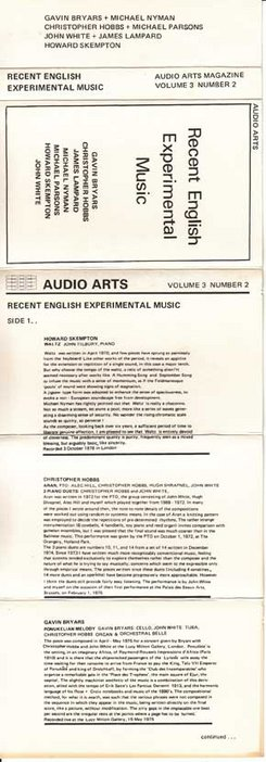 Audio Arts Volume 3 No 2 Inlay 1 showing the cassette inlay artwork laid flat with cover and contents info