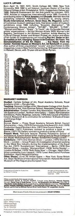 Audio Arts Volume 4 No 1 Inlay 2 showing bios of Lucy Lippard and Margaret Harrison and photo of Lucy with friends at art opening