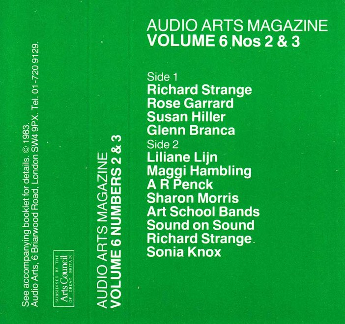 Audio Arts Volume 6 Nos 2 and 3 Inlay 2, green inlay with names of contributors for sides C and D