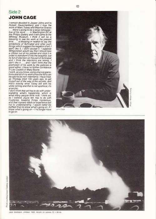 Audio Arts Volume 6 Nos 2 and 3 Inlay 12 showing text about and a photograph of John Cage as well as a painting