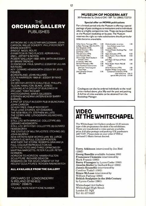 Audio Arts Volume 6 Nos 2 and 3 Inlay 14 showing gallery advertisements