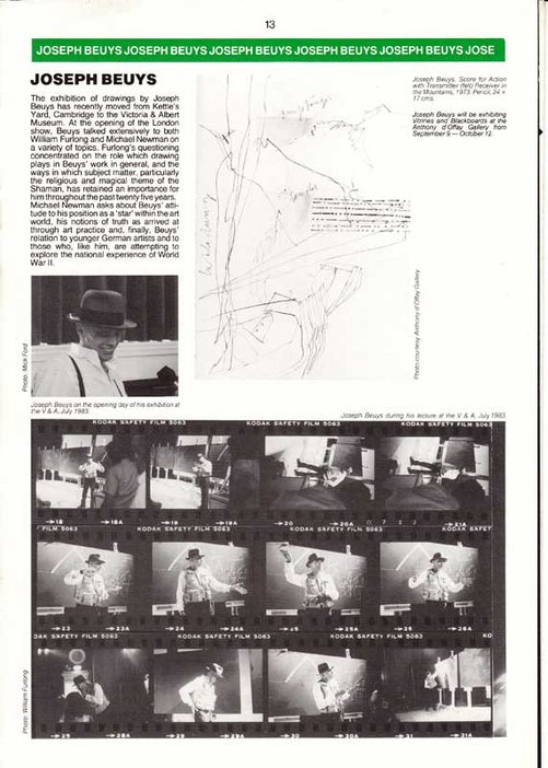 Audio Arts Volume 6 Nos 2 and 3 Inlay 15 showing photos of and text about Joseph Beuys