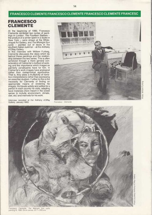 Audio Arts Volume 6 Nos 2 and 3 Inlay 16 showing text about Francesco Clemente along with a photograph of him and also of his work