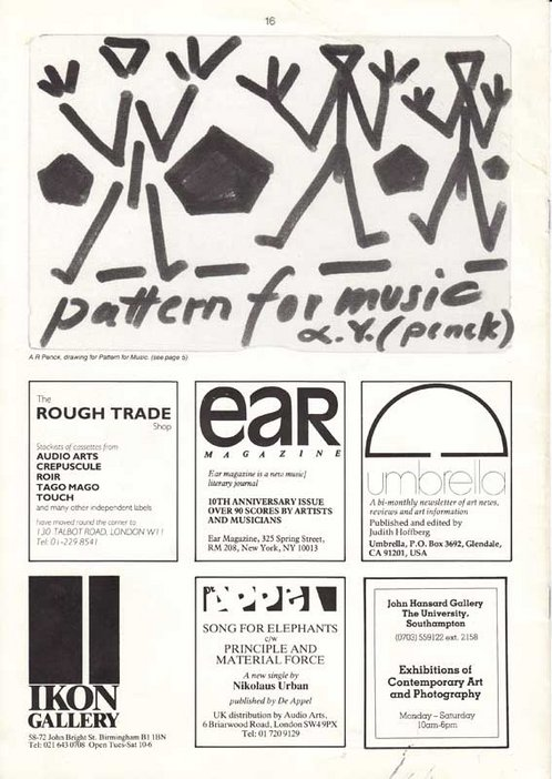 Audio Arts Volume 6 Nos 2 and 3 Inlay 18 showing a drawing for Pattern for Music along with advertisements