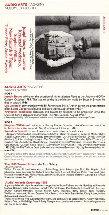 Audio Arts Volume 8 No 1 Inlay, cassette layout with a photo of Joseph Beuys and contents of cassette