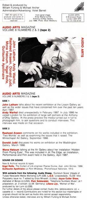 Audio Arts Volume 8 Nos 2 and 3 Inlay 2 cassette layout with a photo of Andy Warhol and sides contents