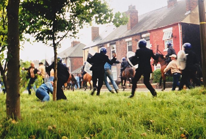 Film Still Jeremy Deller and Mike Figgis Battle of Orgreave reconstruction of protest