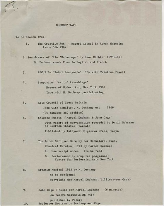 Audio Arts Volume 2 No 4 archive material 1 showing type written list of choices of Marcel Duchamp tape recordings