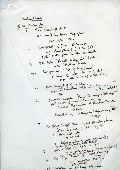 Audio Arts Volume 2 No 4 archive material 2 showing hand written list of choices of Marcel Duchamp tape recordings