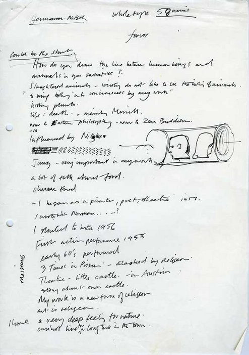 Audio Arts Volume 2 No 4 archive material 4 showing hand written form notes for Hermann Nitsch recording