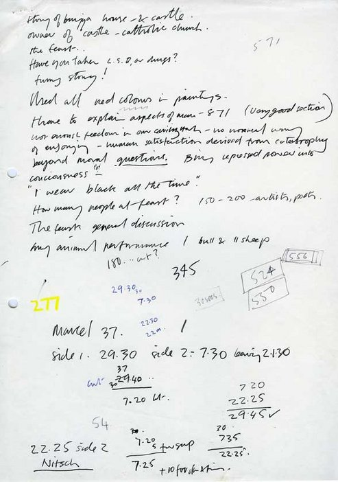 Audio Arts Volume 2 No 4 archive material 5 showing hand written planning notes for tape recording