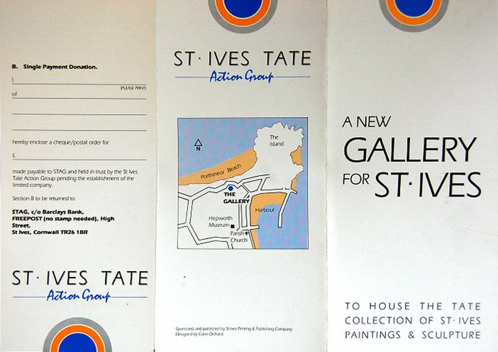 The St Ives Tate Action Group (STAG) leaflet, designed by Colin Orchard