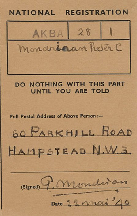 Detail of Mondrian's British National Registration document