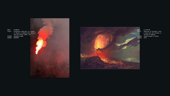 Recognition layout: Vesuvius in Eruption, with a View over the Islands in the Bay of Naples by Joseph Wright of Derby
