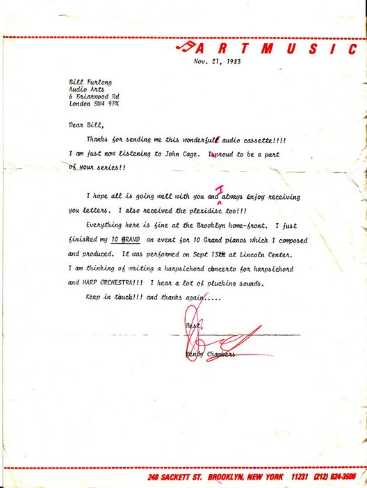 Audio Arts Volume 6 Nos 2 and 3 Archive material 1 showing typewritten letter to Bill Furlong from Art Music