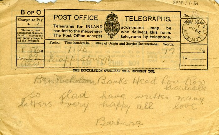 Telegram from Barbara Hepworth to Ben Nicholson dated 29 Sept 1931