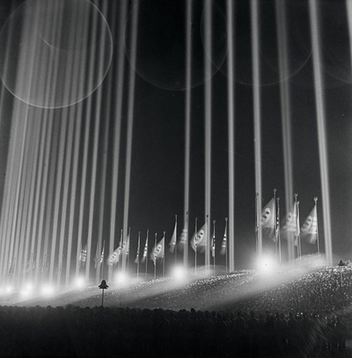 Albert Speers Light Dome 1937 130 anti-aircraft searchlights conceived for Hitlers rally at the Zeppelinfeld in Nuremberg