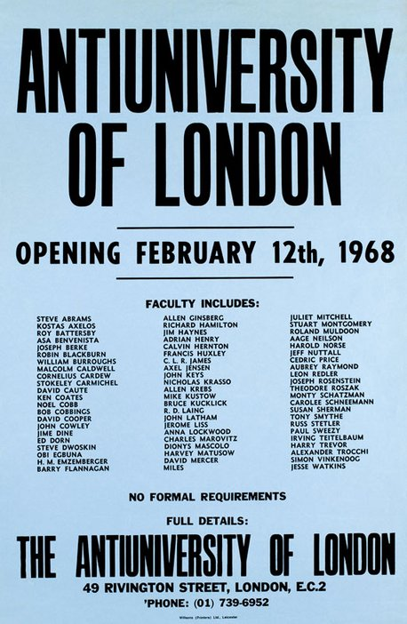 Poster announcing the opening of the Antiuniversity of London 1968