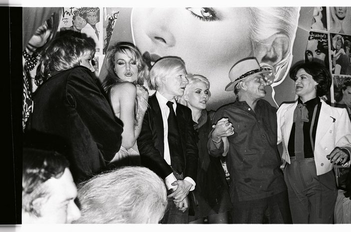 Anton Perich Jerry Hall Andy Warhol Debbie Harry Truman Capote and Paloma Picasso at the tenth anniversary of Interview magazine at Studio 54 1979