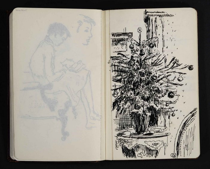 Sketch of a decorated Christmas tree by James Boswell Tate Archive