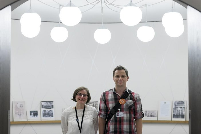 Portrait shot of two archive explorer volunteers, a man and woman