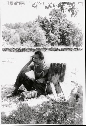 Arshile Gorky wearing an immobilisation collar in Sherman Connecticut photographed by Wifredo Lam in July 1948