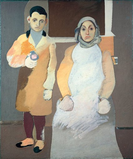 Arshile Gorky The Artist and His Mother 1926 1936 painting of a woman seated with a young boy standing beside her