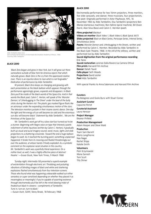 Aldo Tambellini, Retracing Black 2012, programme notes p.3 of 3