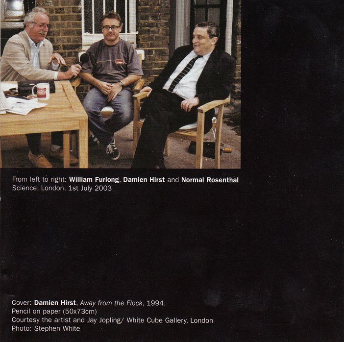 Inlay for Audio Arts supplement Damien Hirst: From Cradle to the Grave showing a photograph of William Furlong, Damien Hirst and Norman Rosenthal seated around a table