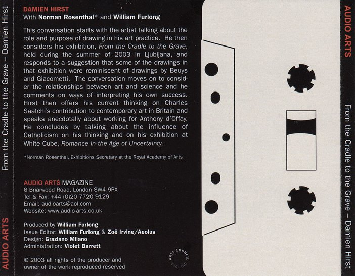 Inlay for Audio Arts supplement Damien Hirst: From Cradle to the Grave showing an illustration of a cassette along with a summary of the contents