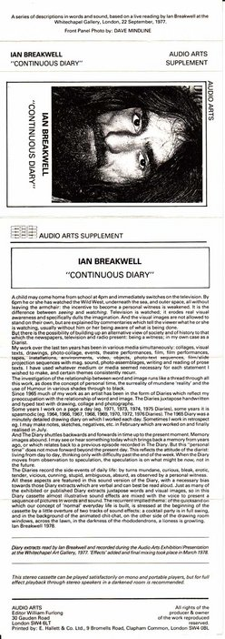 Inlay for Audio Arts supplement Ian Breakwell, Continuous Diary showing a head shot photograph of Breakwell along with information about the content of the cassette