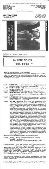 Inlay for Audio Arts supplement Ian Breakwell: Dialogues showing a photo, notes on the recording and track info
