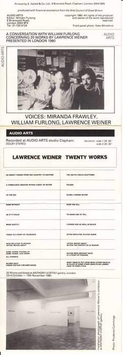 Inlay for Audio Arts supplement Lawrence Weiner, concerning twenty works showing photos and list of works discussed in the tape