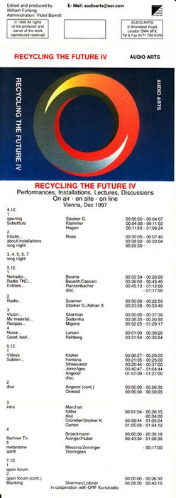 Inlay for Audio Arts supplement Recycling the Future IV showing cassette cover with list of timings
