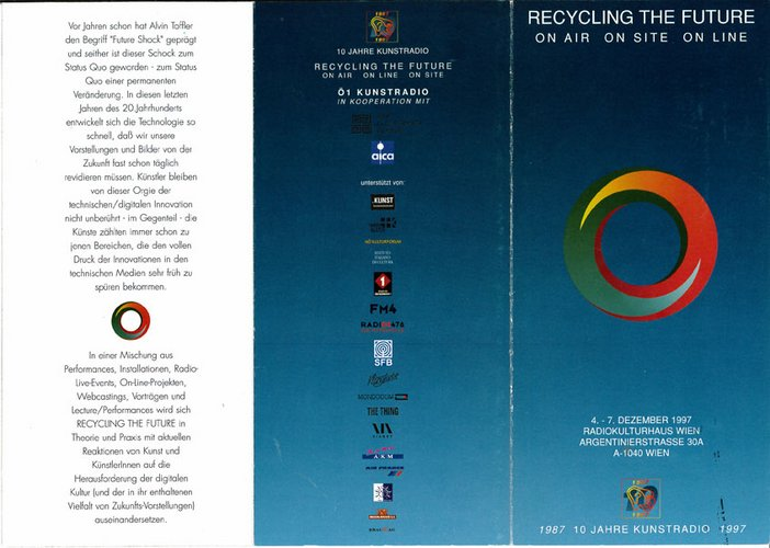 Inlay for Audio Arts supplement Recycling the Future IV showing 3 panel flyer back