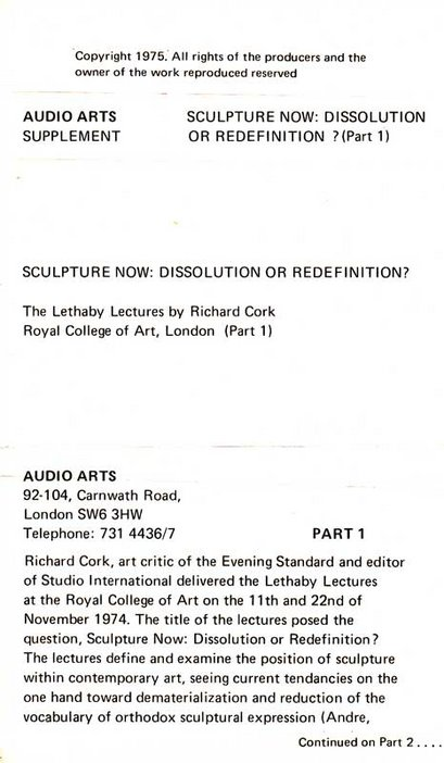 Inlay for Audio Arts Supplement Richard Cork, Lethaby Lectures showing part 1 information