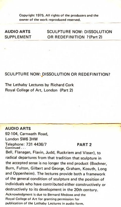 Inlay for Audio Arts Supplement Richard Cork, Lethaby Lectures showing part 2 information