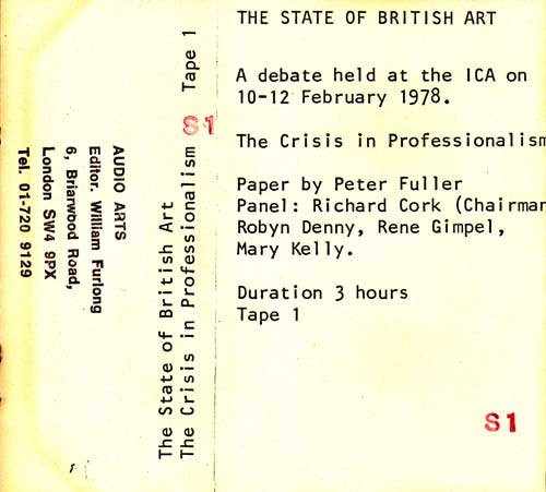 Inlay for Audio Arts supplement The State of British Art showing cassette sleeve for tape 1 of The Crisis in Professionalism debate