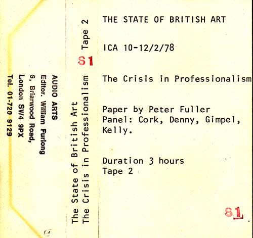 Inlay for Audio Arts supplement The State of British Art showing cassette sleeve for tape 2 of The Crisis in Professionalism debate