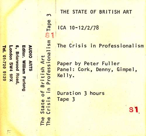 Inlay for Audio Arts supplement The State of British Art showing cassette sleeve for tape 3 of The Crisis in Professionalism debate