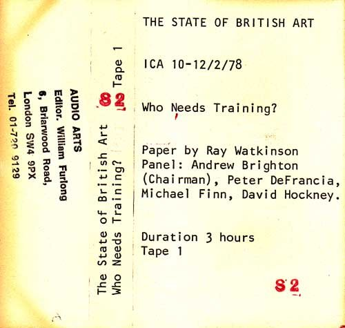 Inlay for Audio Arts supplement The State of British Art showing cassette sleeve for tape 1 of Who Needs Training debate