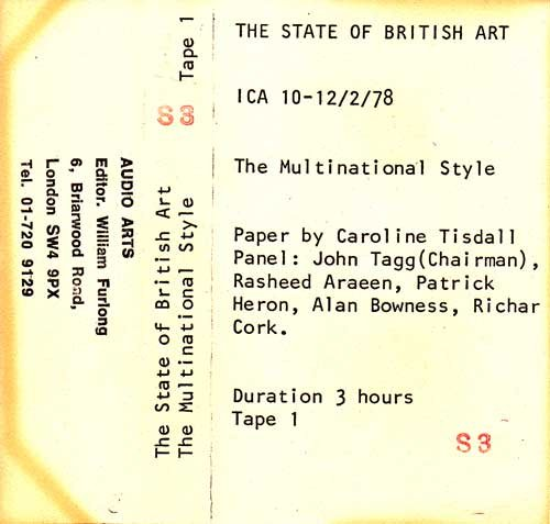 Inlay for Audio Arts supplement The State of British Art showing cassette sleeve for tape 1 of The Multinational Style debate