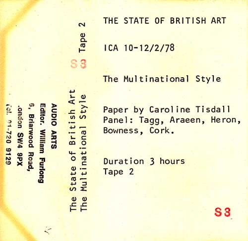 Inlay for Audio Arts supplement The State of British Art showing cassette sleeve for tape 2 of The Multinational Style debate