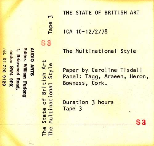 Inlay for Audio Arts supplement The State of British Art showing cassette sleeve for tape 3 of The Multinational Style debate