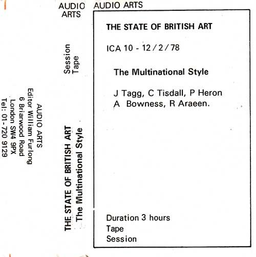 Inlay for Audio Arts supplement The State of British Art showing cassette sleeve for the session tape of The Multinational Style debate