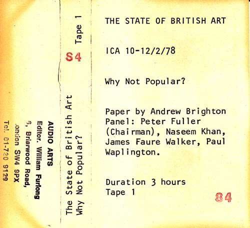 Inlay for Audio Arts supplement The State of British Art showing cassette sleeve for tape 1 of Why Not Popular debate