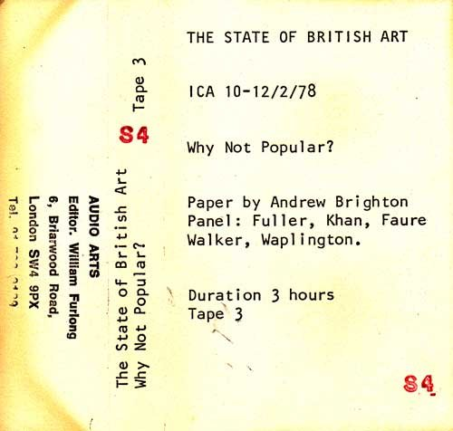 Inlay for Audio Arts supplement The State of British Art showing cassette sleeve for tape 3 of Why Not Popular debate