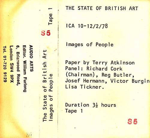 Inlay for Audio Arts supplement The State of British Art showing cassette sleeve for tape 1 of the Images of People debate