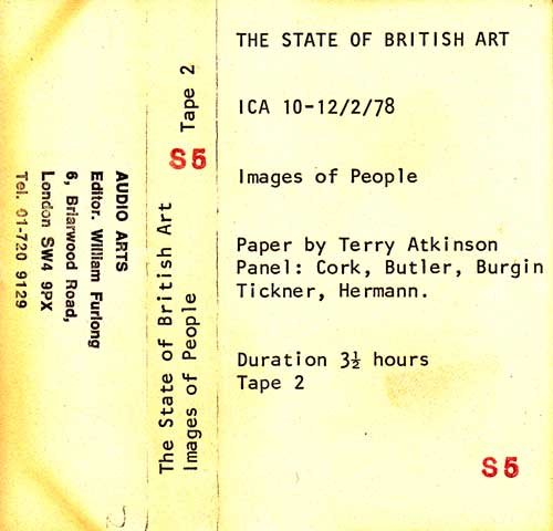 Inlay for Audio Arts supplement The State of British Art showing cassette sleeve for tape 2 of the Images of People debate