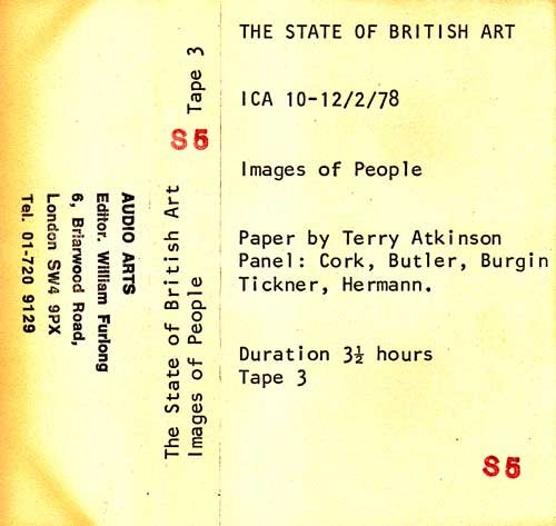 Inlay for Audio Arts supplement The State of British Art showing cassette sleeve for tape 3 of the Images of People debate